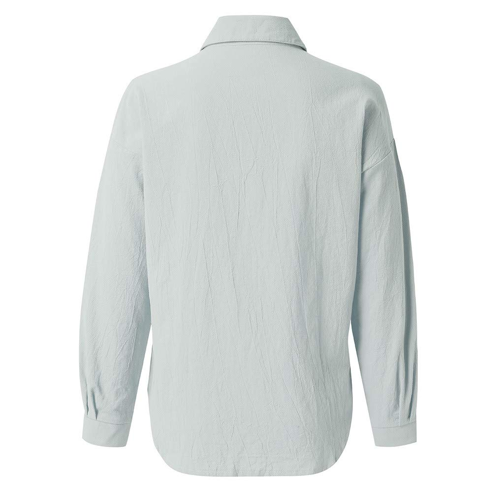 Pandaie Womens Shirts Solid Button Cotton Linen Long Sleeve T Shirt Blouse Top Light Breathable