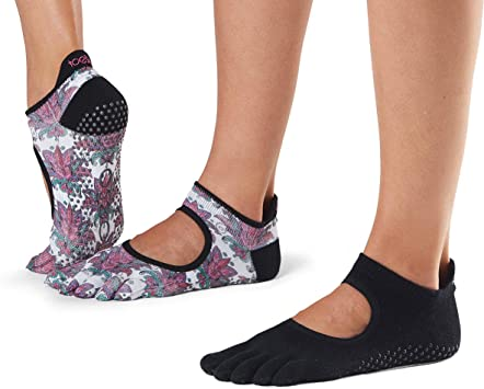 toesox Grip Pilates Barre Yoga Socks – Non-Slip Bellarina Full Toe Multi Pack