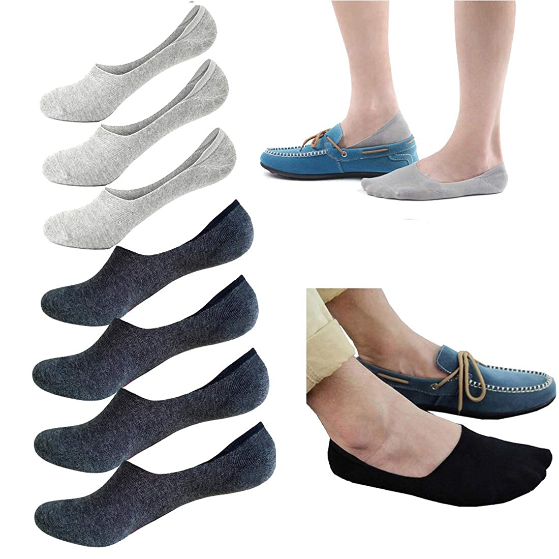 No Show Socks Men Low Cut Cotton Socks Anti-Slip Socks Invisible Liner Socks Loafer Socks 7 pairs