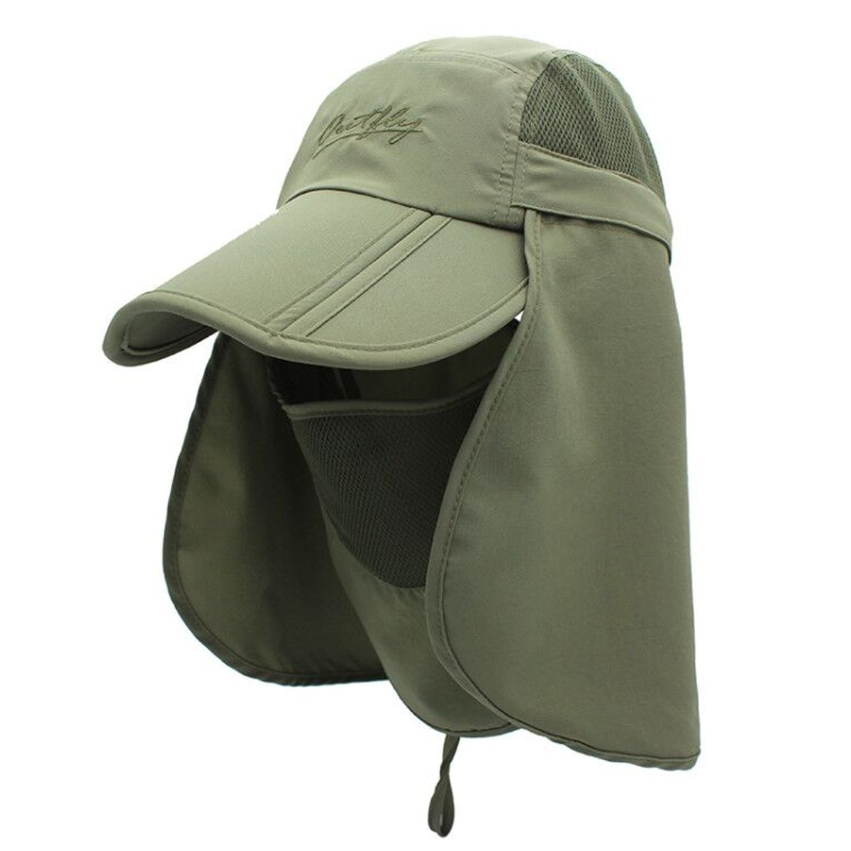 4638e02e6df4f Surblue Quick-Drying Outdoor Cap UV Protection Sun Hats Fishing Hat Neck  Face Flap Hat UPF50+ Army Green at Amazon Men s Clothing store