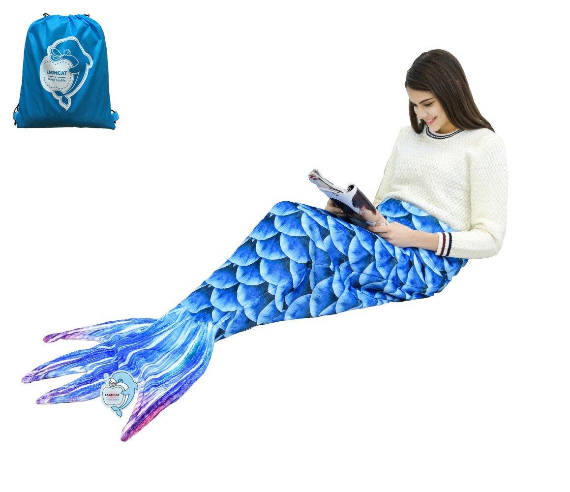 Mermaid Tail Blanket Super Soft Warm Fleece Fabric Blankets for Kids / Adult Cozy Sleeping Bags Bed Sofa Throw Blankets (Adult, Blue Flake)