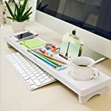 Early Bird Savings - Carcasa de madera organizador de escritorio pequeños objetos/teclado mercancía estante de almacenamiento de madera acabado de alambre recibir un caso, Blanco