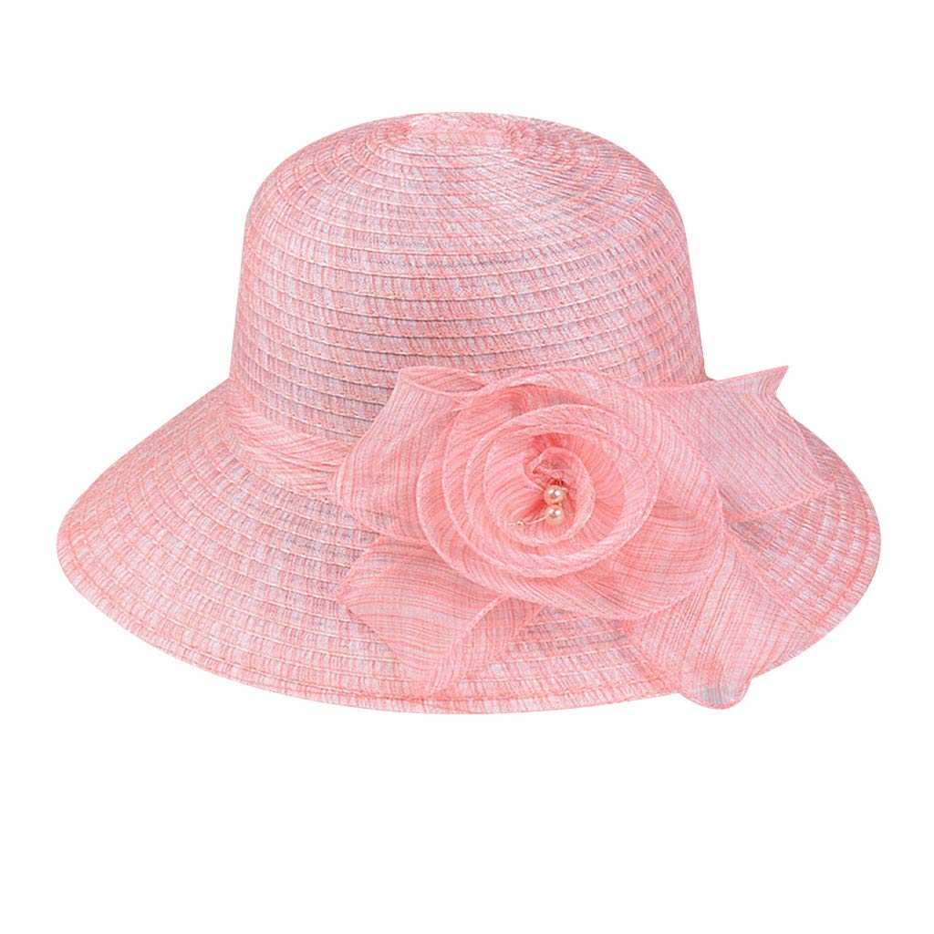 Yamally Sun Hats for Women,Ladies Big Bowknot Straw Hat Foldable Roll up Sun Hat Beach Cap Party Wedding Hat Pink
