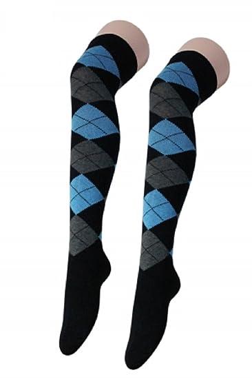 Momo&Ayat Fashions - Calcetines hasta la rodilla - para mujer negro Argyle Black Blue Talla única