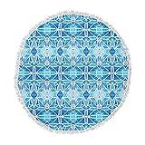 KESS InHouse Art Love Passion Diamonds Blue Aqua Round Beach Towel Blanket
