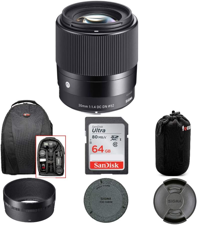4 Items Sigma 30mm f//1.4 DC DN Contemporary Lens for Canon EF-M with 64GB SD Card and Travel Bundle