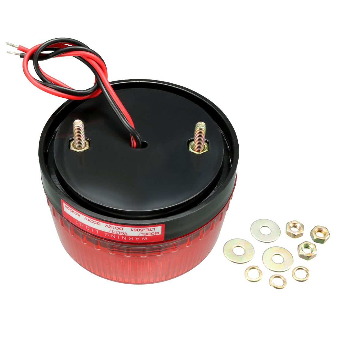 uxcell LED Warning Light Bulb Rotating Flas Signal Alarm Lamp Buzzer Sound 90dB DC 24V Red LTE1101LJ