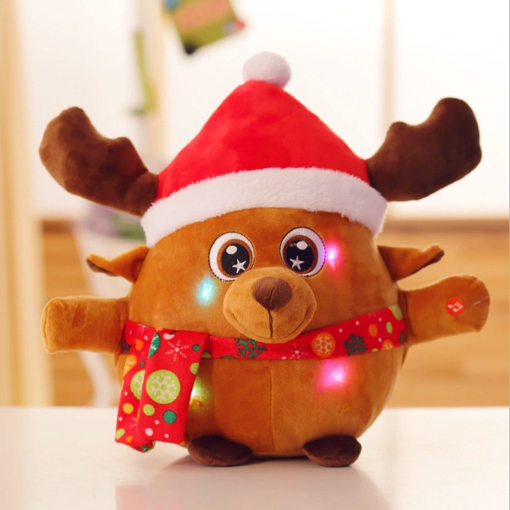 8.7'' Animated Musical Reindeer Figure Kids Soft Plush Stuffed Toy Doll Lights up Singing Christmas Figurine Decorations Electric Home Ornament Decoration Toys for Kids Birthday Present Christmas Gift