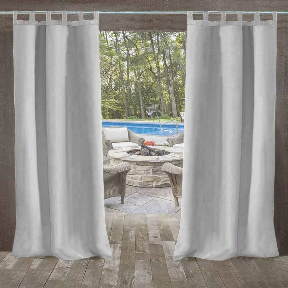"""UniEco - Outdoor Curtains for Gazebo with Adhesive Tape, Mildew Resistan Pergola Curtains, Perfect for Garden Patio Balloon of Pavilion Beach House, 1 Piece, 50"""" W*84"""" H, Grey"""