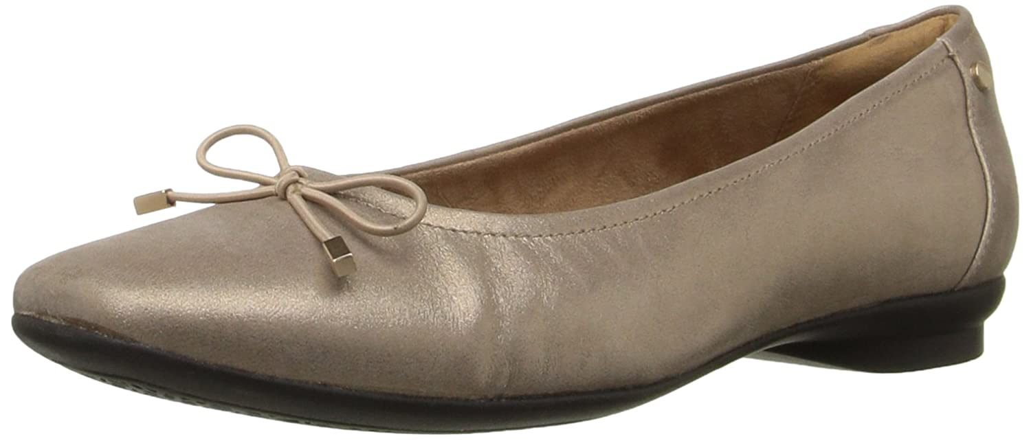 CLARKS Women's Candra Light Flat B0194525Y0 9.5 2W US|Champagne Metallic Leather