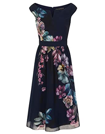 Little Mistress Floral Skater Dress in Navy 12  Amazon.co.uk  Clothing c08e30d43