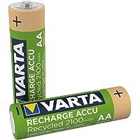 VARTA Recharge Accu Recycled oplaadbaar, Ready-to-use voorgeladen AAA Micro Ni-MH accu (verpakking met 2 stuks, 2100mAh…
