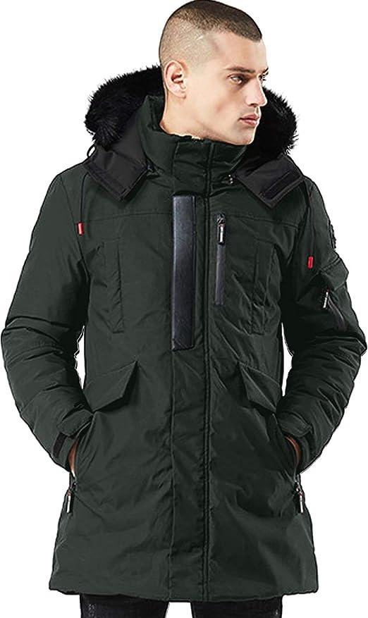 Springrain Mens Winter Warm Padded Sherpa Lined Jacket Coat Removable Hood
