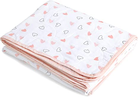Pink Heart Organic Baby Blanket Swaddle Blanket