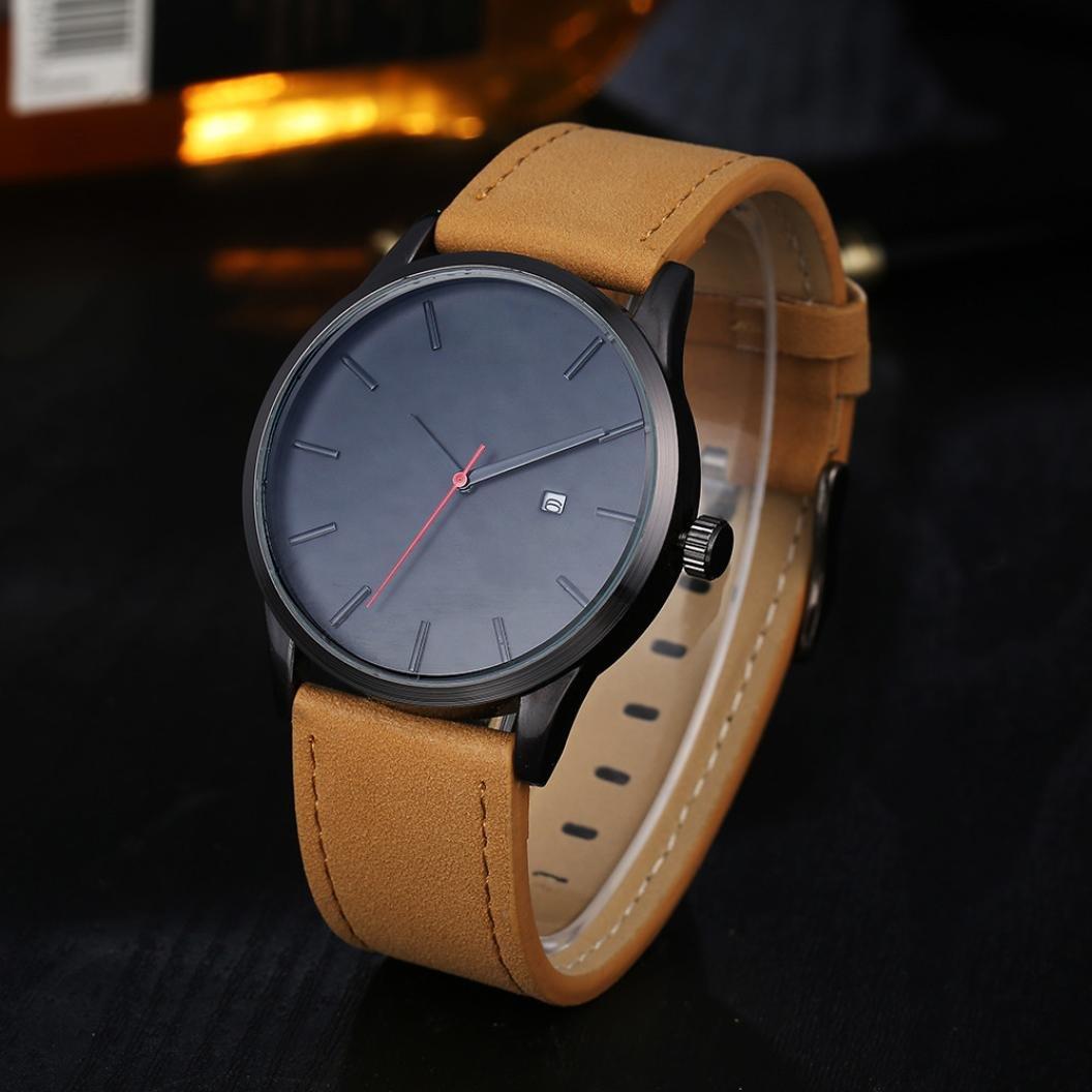 Reloj con correa de cuero, estilo minimalista, reloj de pulsera de cuarzo, relojes para hombre 2018 diseño de lujo clásico simple e informal, Liquidación de ...