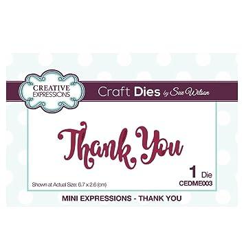 Sue Wilson Mini Expressions Thank You Die, Metal, Silver, 12 5 x 8 x 0 8 cm