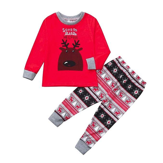 8ae8cdf439 SUMTTER Pigiami Natale Famiglia Coordinati con Neonato Babbo Natale  Pantaloni + Maglie Pigiami Due Pezzi Natalizi