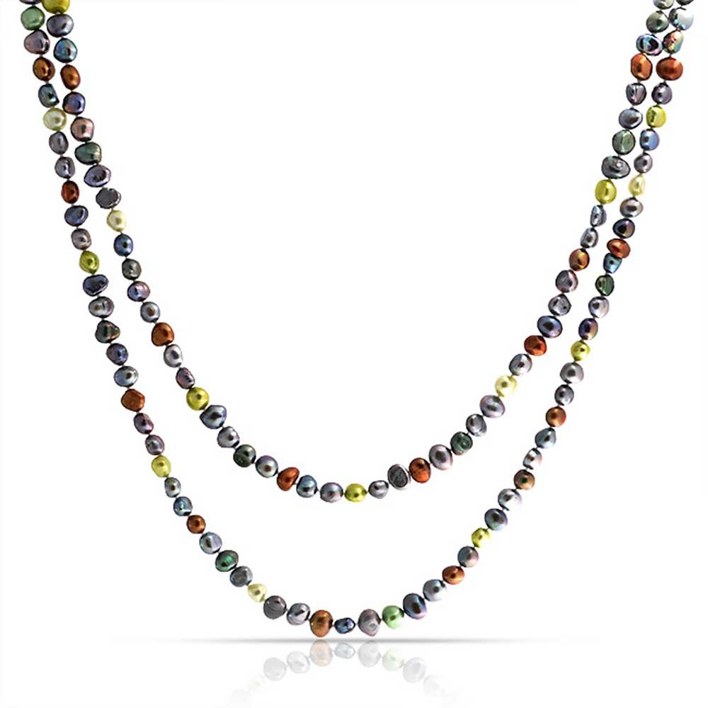 Long Multi Color Freshwater Cultured Pearl Sterling Silver Necklace 54 Inches