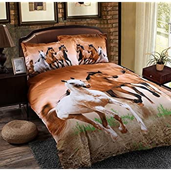 Alicemall Twin Size 3D Horse Bedding Set 4 Piece Galloping Horses Polyester  Duvet Cover Sets. Amazon com  Wowelife Galloping Horse Bedding Sets Polyester 3d Set