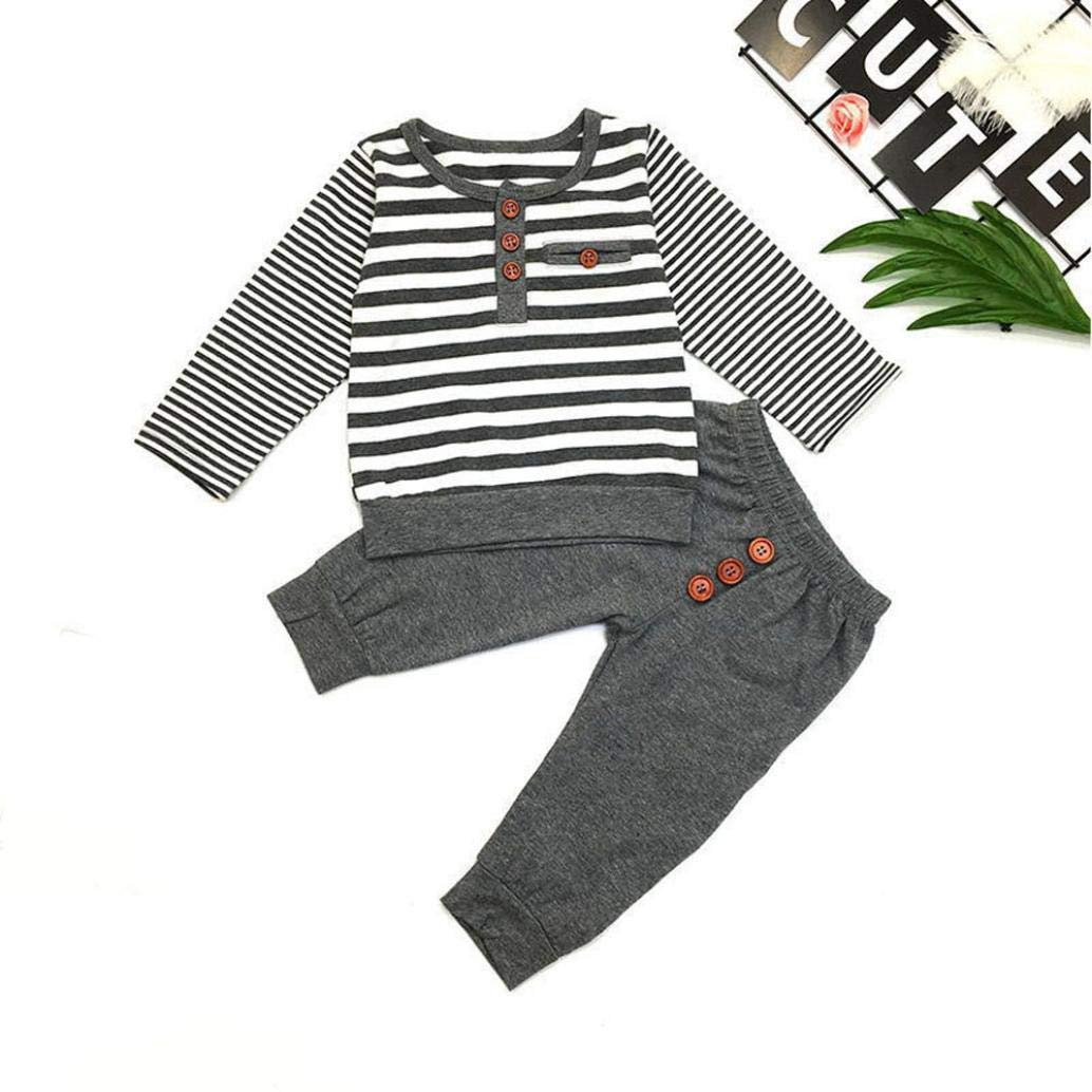 Newborn Baby Long Sleeves Tops+Pants Outfits Pollyhb Baby Boys Girls Clothes Set