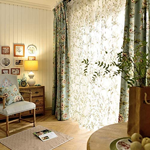 FADFAY Farmhouse Blue and Yellow Leaves Printed Blackout Curtains