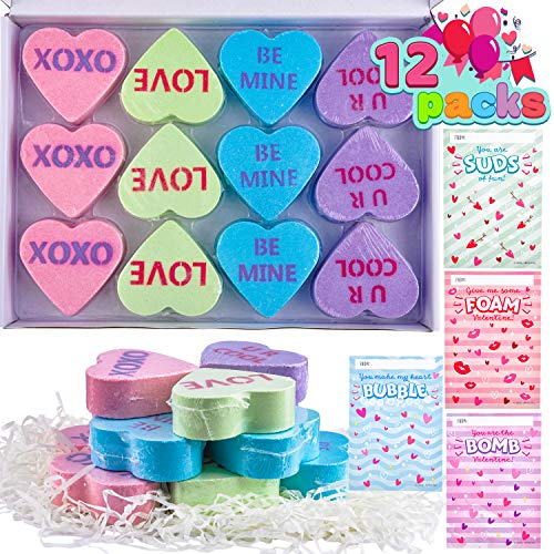 12 Packs Valentine's Day Heart Shape Bath Bomb with Cards for Valentine Party favors, Valentine Exchange Gifts…