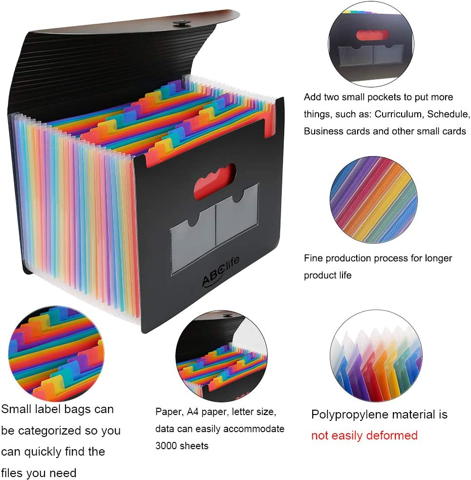 24 Pockets Expanding File Folder/Accordian File Organizer with Expandable Cover/Portable A4 Letter Size File Box, High Capacity Plastic Colored Paper Document Receipt Organizer Filing Folder Organizer : Office Products