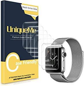 [6 Pack] UniqueMe Screen Protector Compatible with Apple Watch Series 4/5/6/Se 38/40mm, [Anhydrous adsorption] [Flexible Film] Soft HD TPU Clear Anti-Scratch Film