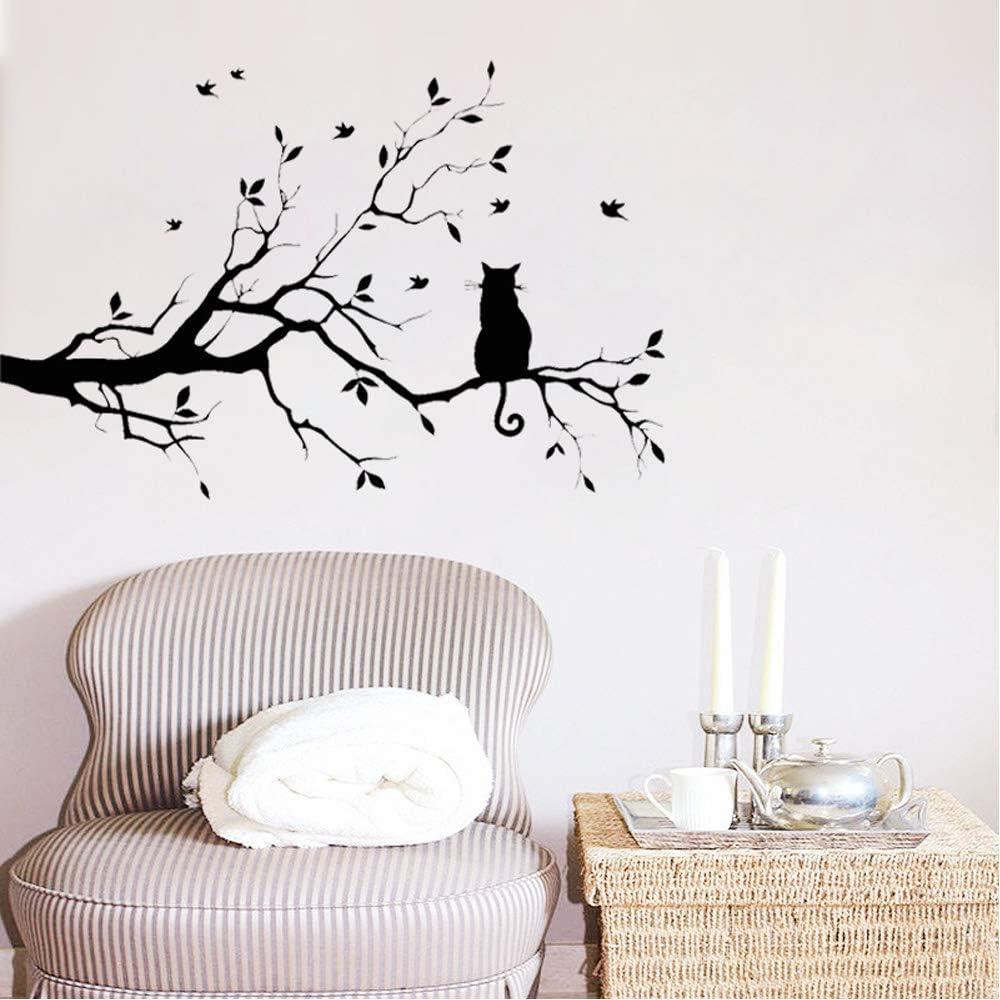 CUNYA Stickers muraux amovibles en vinyle Motif branches darbre Noir 56 x 35,6 cm