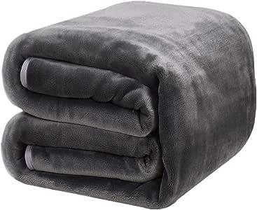 DREAMFLYLIFE Luxury Fleece Blanket Winter Thick Blanket Super Soft Blanket Bed Warm Blanket Couch Blanket Dark Grey King-Size, 90x108 in