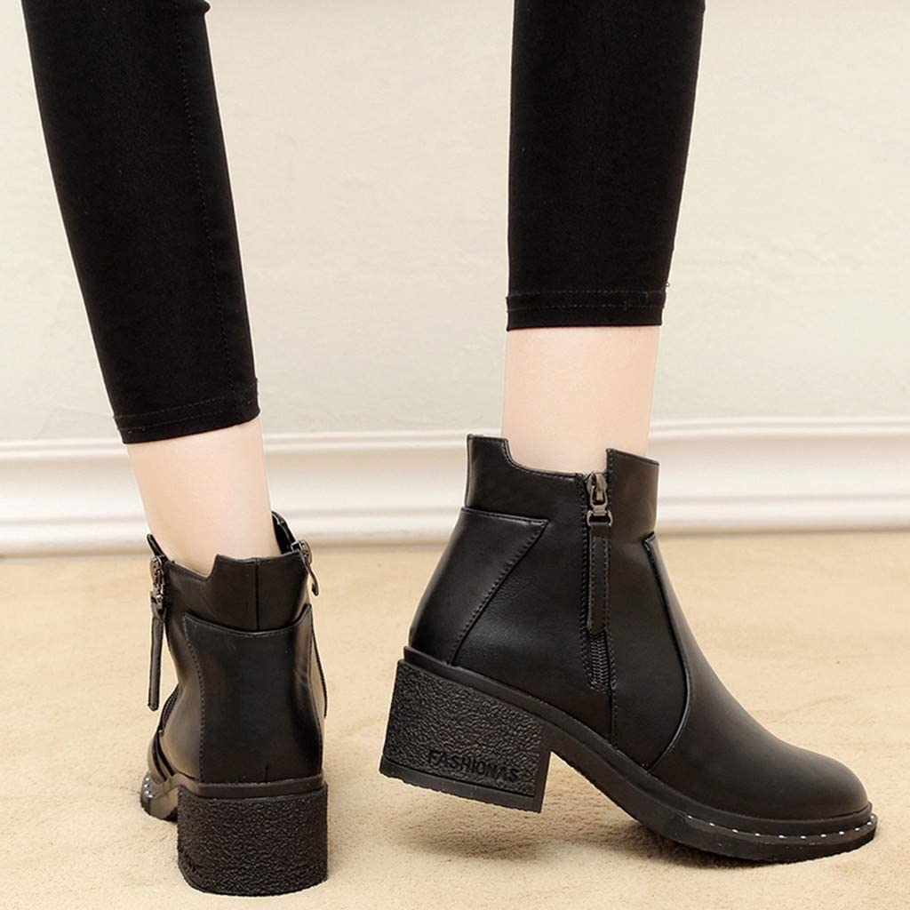 Womens Casual Block Heel Ankle Boots Ladies Zip Ankle Low Heel Booties Shoes by Nevera