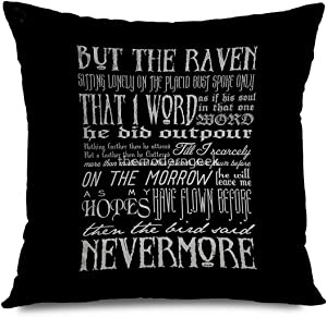 Onete Decorative Throw Pillow Cover Square 18x18 Inches Edgar Allan Poe Raven Typography Cushion Case Home Decor Zippered Pillowcase