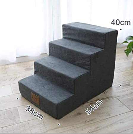 Zll Escalera de la Cama para Mascotas Perro pequeño Escaleras de Peluche 4 Pasos Subir sofá Escalera para Perro Gato animalito hasta 5 KG,Gray: Amazon.es: Hogar