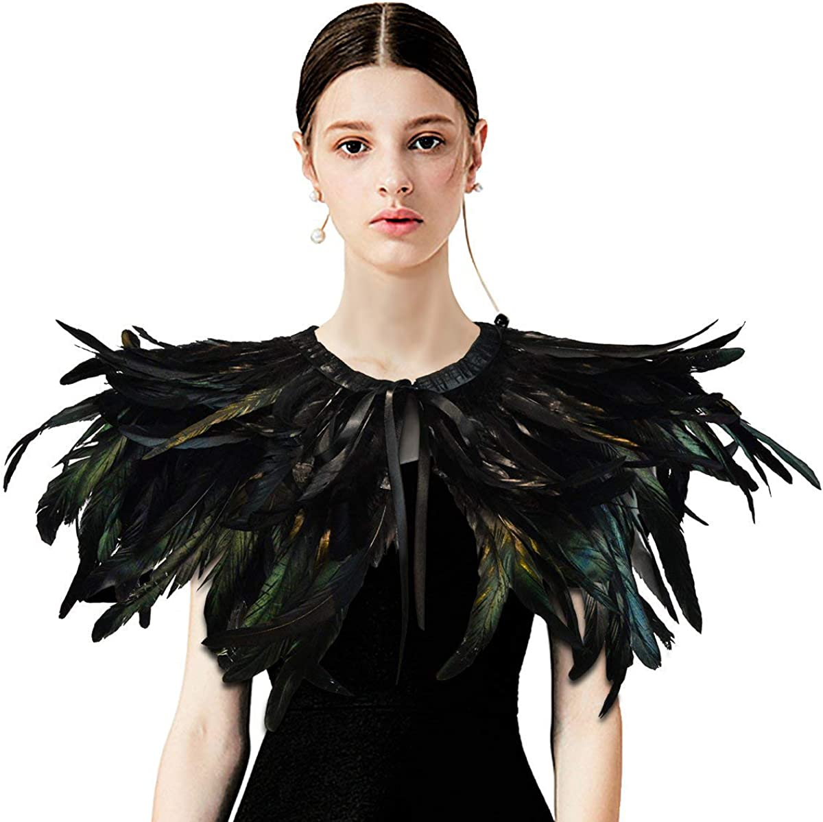 Amazon Com Homelex Gothic Black Natural Feather Cape Shawl With Choker Collar Style 1 Clothing