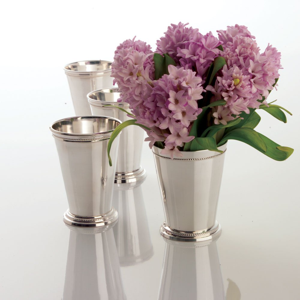 Two's Company Mint Julep Cups in Gift Box, Lacquered Silver Plated Brass, Set of 4