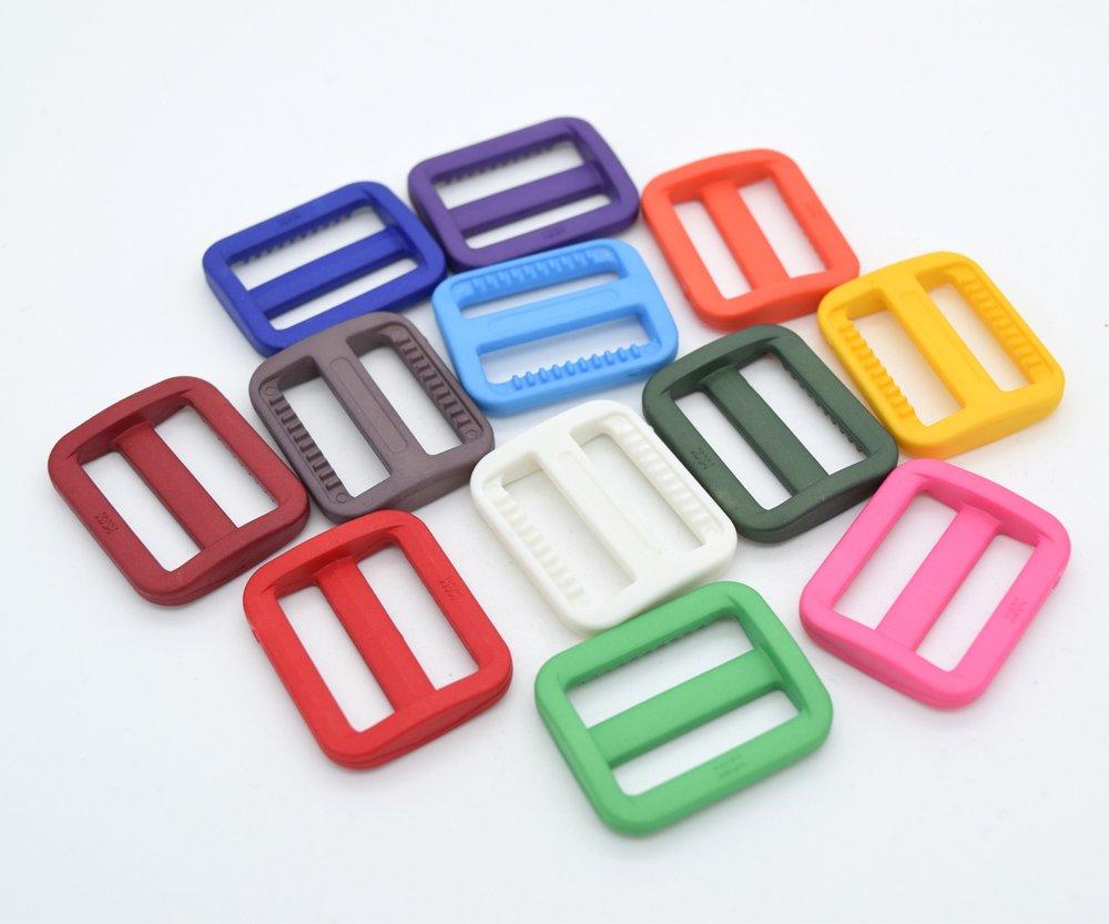 12pcs 1 Colorful Plastic Tri-glide Triglides Slides Buckles mix 12 colors