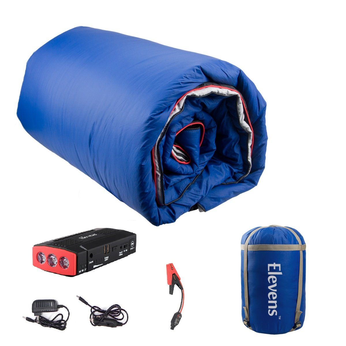 3-in-1 Battery Powered Down Blanket for 4-Season Traveling, Camping, Hiking & Outdoor Activities (Blue)