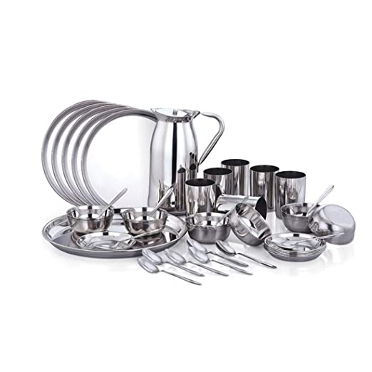 Twin Birds Signature 37 PCS Dinner Set - (Plate 13-inch - 6 NO, KATORI 5.5-inch - 12 NO, HALWA Plate 5.5-inch - 6 NO, Glass - 6 NO, JUG 1.5 LTR - 1 NO & Baby Spoon - 6 NOS)