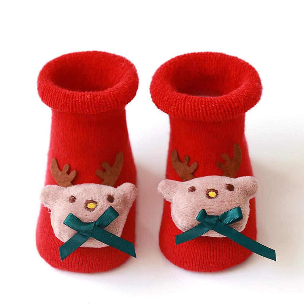 Coversolate Baby Kleinkind Socken Weihnachten Karikatur Lang Socken Anti Rutsch Winter Boden Socken f/ür Jungen M/ädchen 0-3 Jahre