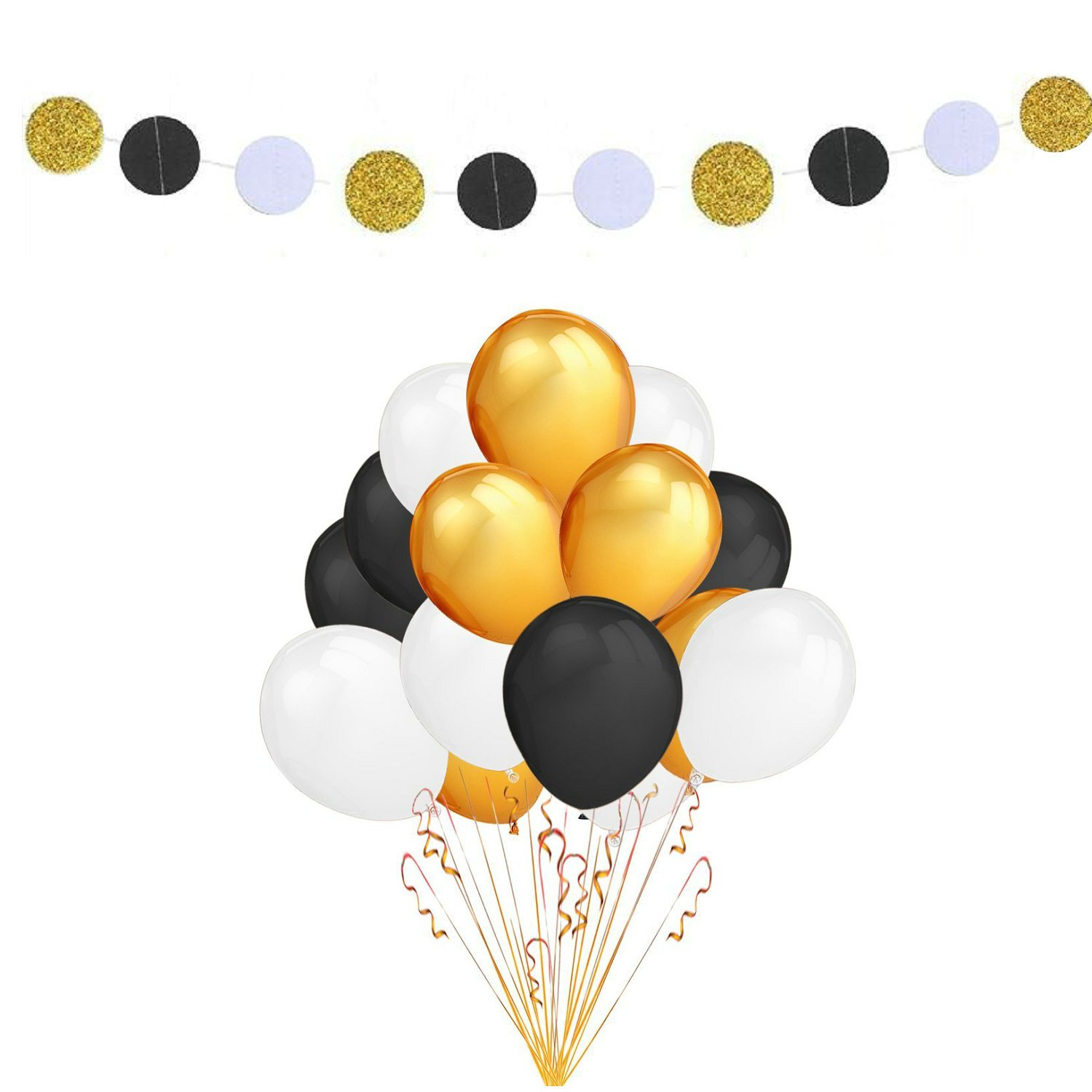 Fascola 100 Pack 12 Inches Ultra Thickness Gold & Black & White Color Latex Party Balloons with White Black Gold Polka Dot Garland for Party Decorations