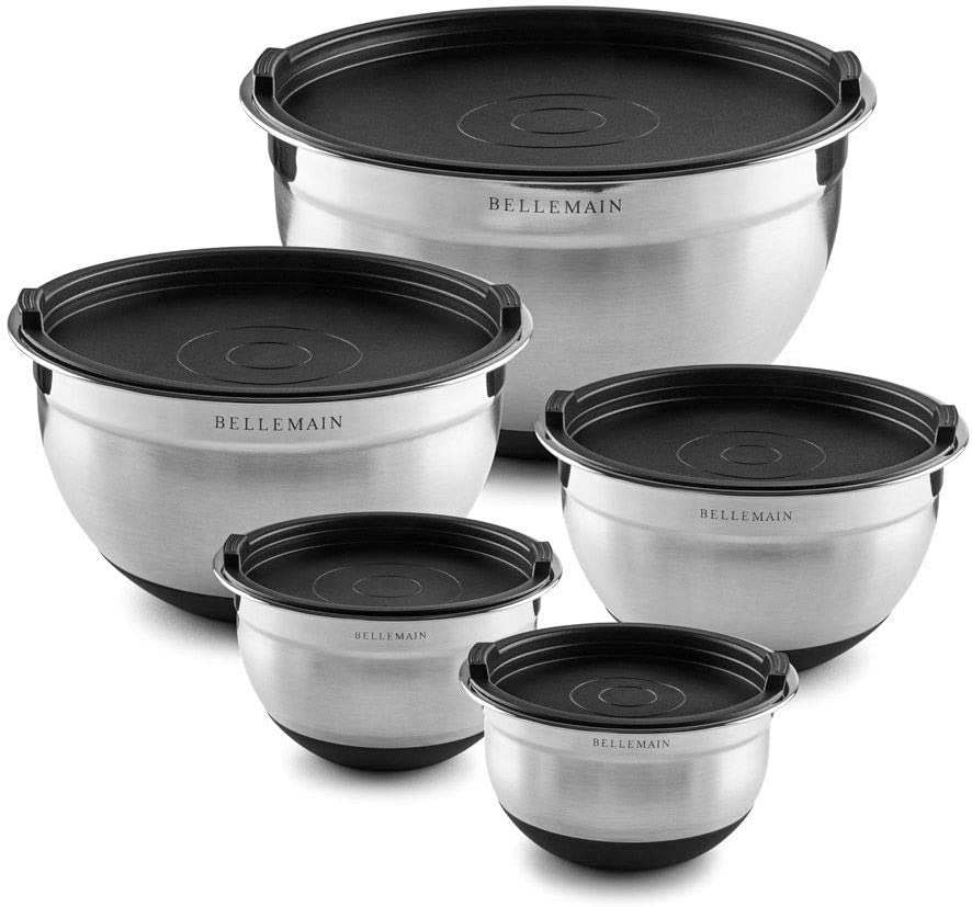 Bellemain Stainless Steel Non-Slip Mixing Bowls with Lids (5 Piece, Silver/Black)