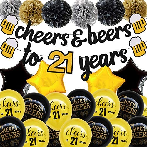 21 Birthday Decorations Cheers 21 Years BannerPom Poms Flowers 21s Sign Latex Balloons Star Foil Balloons for Men Women Him Her 21th Birthday Wedding Party Supplies Sparkle Decor