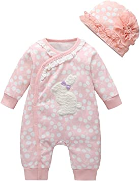 Baby Infant Girls Rompers Set Long Sleeve Solid Color Onesie with Hat Outfits Clothes 6-9 Months