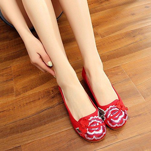 GuiXinWeiHeng xiuhuaxie Zapatos bordados, lenguado del tend¨®n, estilo ¨¦tnico, zapatos de tela femenina, moda, c¨®modo, casual dentro del aumento red