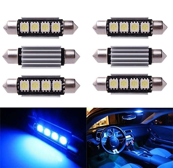 1 opinioni per Inlink 6pcs BLUE Error Free Festoon canbus 4SMD 5050 42mm LED Car led License