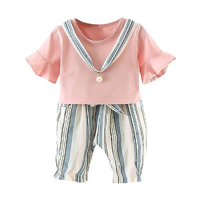 Amazon.com: Conjunto de ropa de verano para bebés y niñas de ...