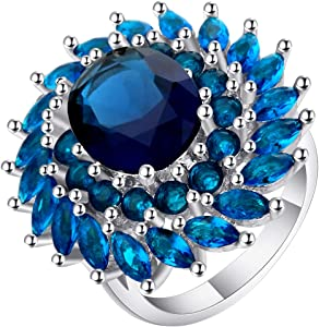 Nitlovely Hyperbolic Royal Blue Zircon Flower Rings Female Silver Plated Beautiful CZ Round Design Big Rings for Women Dropshipping (7)