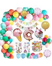 MMTX Decoraciones fiesta Cumpleaños Candyland, Fiesta de cumpleaños con pancarta de feliz cumpleaños, Caramelo Donut Helado Globo De Aluminio para niñas niños mujeres Candyland Lollipop Party