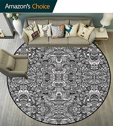 Symmetrical Tattoo - Abstract Modern Washable Round Bath Mat,Abstract Composition Floral and Geometric Elements Symmetrical Tattoo Design Non-Slip Bathroom Soft Floor Mat Home Decor Round-55 Inch,Beige Black