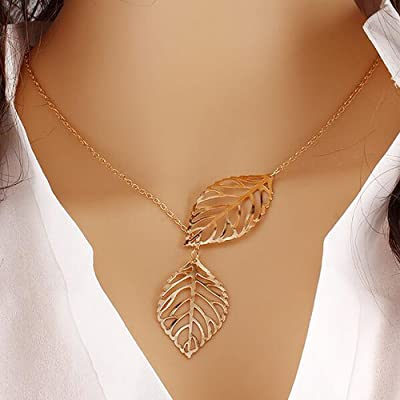 A&C 2016 Hot Chic Fashion Leaf Pendant Necklaces Jewelry for Women and Girls (Gold)